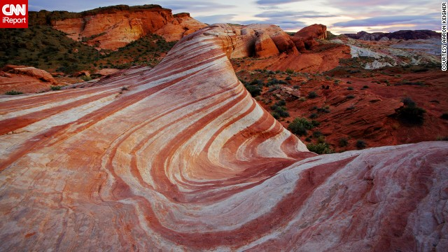 This stunning rock formation stands in Valley of Fire State Park, Nevada's oldest and largest state park.