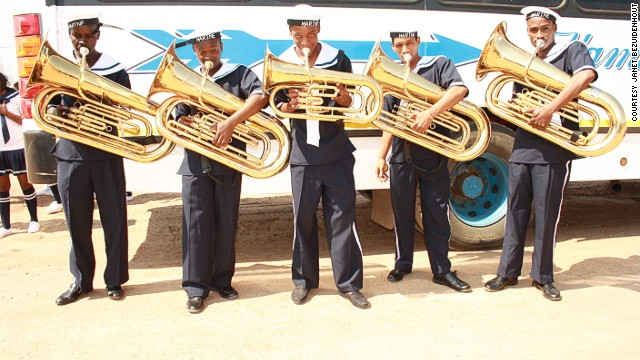 Since it started out three years ago the band has gone from sharing 10 instruments to having 4 tuba players, 16 trombonists, trumpeters and a group of drummers and drum majorettes.