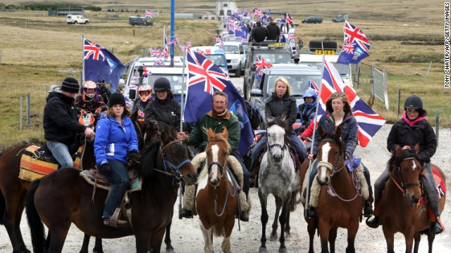 Falkland Islanders take part in the