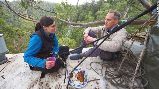 Former Australian Greens senator Bob Brown also visited Miranda at her tree top home.