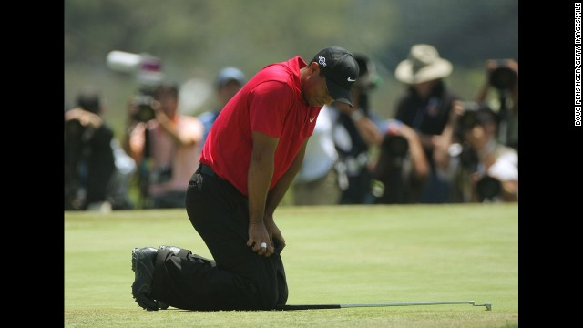 Woods misses the U.S. Open in July 2011, <a href='http://edition.cnn.com/2011/SPORT/golf/06/07/golf.tiger.usopen.injury/index.html'>citing knee and Achilles tendon injuries</a>. Here, he plays in the tournament in 2008.