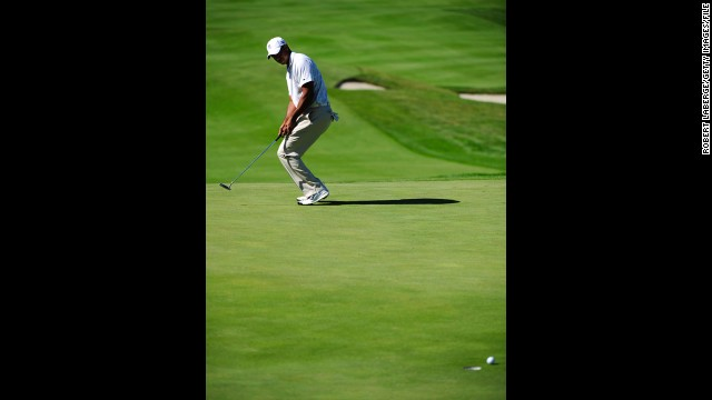 Woods misses a putt at the Frys.com Open in October 2011. That month, he dropped out of golf's Top 50 players list for the first time in almost 15 years. Woods reportedly lost millions in endorsements after sponsors ended their ties with him in the wake of a sex scandal.
