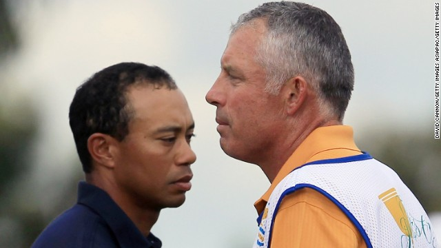 "Woods drops his caddy of 12 years, Steve Williams, in July 2011. ""I want to express my deepest gratitude to Stevie for all his help, but I think it's time for a change,"" Woods said. Here, the two share a laugh during a practice round two months before Williams was let go."