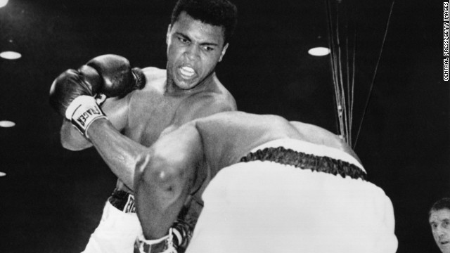 Boxer Muhammad Ali — then known as Cassius Clay — upsets Sonny Liston in a heavyweight title fight in Miami Beach, Florida, on February 25, 1964. He was 22 years old. A short time later, Clay joined the Nation of Islam and changed his name to Muhammad Ali.
