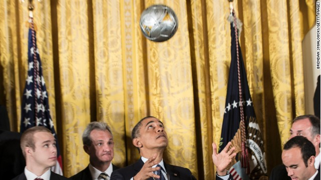 Photo: Obama shows off soccer skills
