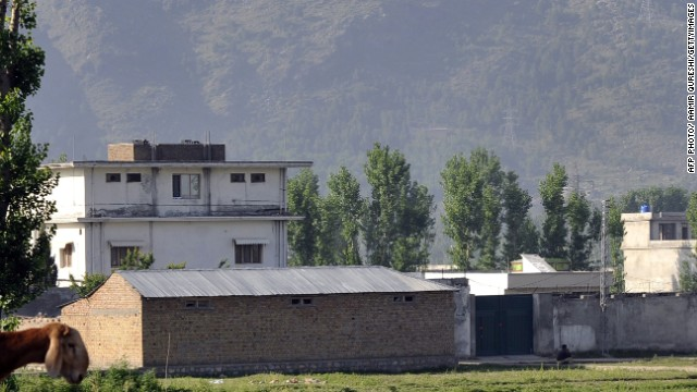 The compound where Osama bin Laden was killed is guarded by Pakistani police on May 4, 2011.