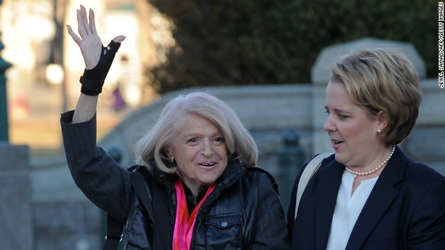 Windsor, left, arrives with her attorney Roberta Kaplan on Wednesday.