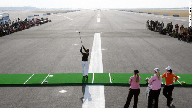 Sweden's LPGA star Annika Sorenstam tees-off from the runaway of Incheon International Airport during a promotional longest drive contest. While travelers aren't advised to take to the tarmac to practice their long-game, the nearby 18-hole Incheon Golf Club is open to passengers with a few hours to spare.