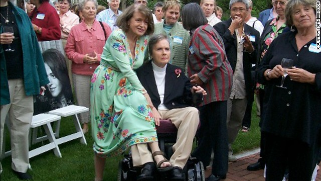 Spyer proposed to Windsor again after hearing that she had only a year to live, and they married again in 2007 in Toronto. Pictured, Windsor and Spyer at a gathering in May 2005.