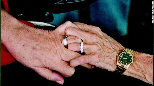 Edith (Edie) Windsor, on the right, holds hands with Thea Clara Spyer the day of their wedding, after 40 years together, on May 22, 2007. By then, Spyer was suffering from multiple sclerosis and could move only one finger.