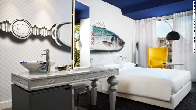 Enjoy the fish theme in this canal-view room at the Andaz Amsterdam Prinsengracht.
