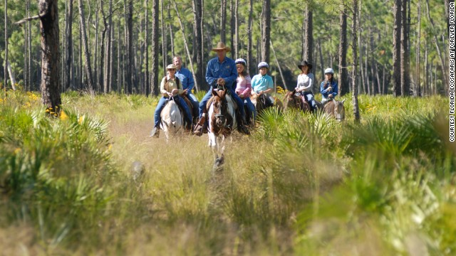 Check out sprawling conservation area Forever Florida on horseback.