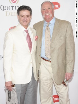 """Pitino is pictured arriving at the 2011 Kentucky Derby with former pro-baseball player Richard """"Goose"""" Gossage."""