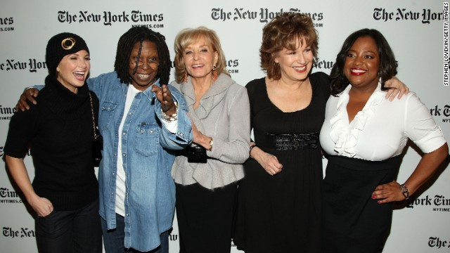 """The View"" hosts Elisabeth Hasselbeck, Whoopi Goldberg, Barbara Walters, Joy Behar and Sherri Shepherd attended the New York Times Art and Leisure Weekend at TheTimesCenter in 2009 in New York. The group became known for their spirited conversations on the show."