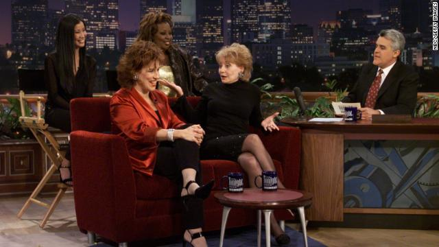 "The women of the view became stars in their own right. Here, Lisa Ling, Star Jones, Joy Behar, and Walters are interviewed by Jay Leno on ""The Tonight Show."""