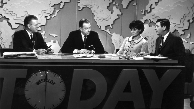 "Jack Lescoulie, Hugh Downs, Walters and Frank Blair conduct a discussion on NBC's ""Today Show,"" in New York. She worked for the show from 1961 to 1976."