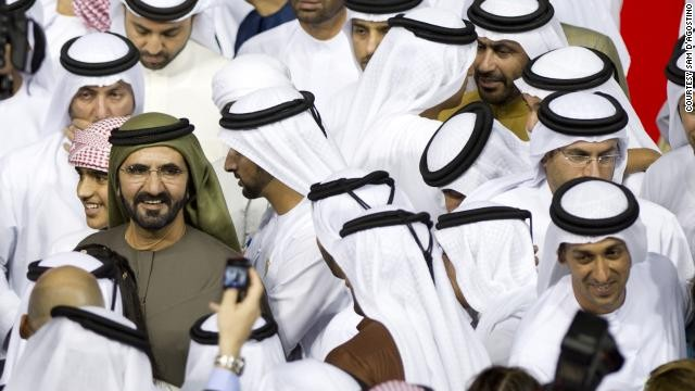 Dubai's ruler, Sheik Mohammed (pictured in green), is an influential figure in the thoroughbred breeding and racing world. The wealthy prime minister owns the country's prestigious Godolphin Stables, along with stud farms in Ireland, Britain, and the U.S.
