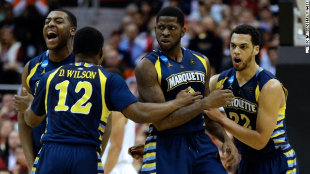 Marquette players, from left, Davante Gardner, Derrick Wilson, Jamil Wilson and Trent Lockett react after a play against Miami on March 28 in Washington.