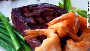 Surf and turf at Anthony\'s Restaurant in Seattle-Tacoma International.