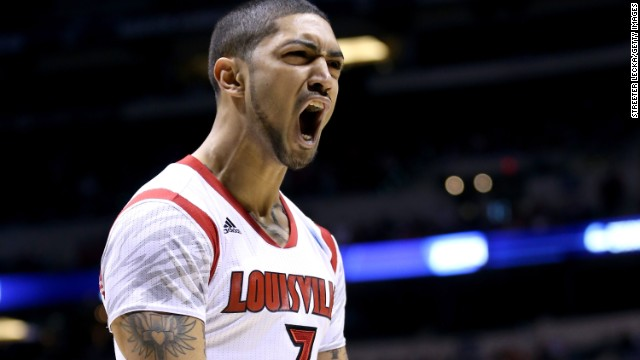 Peyton Siva of Louisville reacts after a play on March 29.
