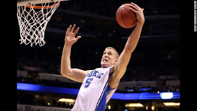 Mason Plumlee of Duke grabs a rebound on March 29.