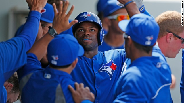 Rajai Davis of the Toronto Blue Jays is congratulated after a home run in a spring training game last week in Fort Myers, Florida.