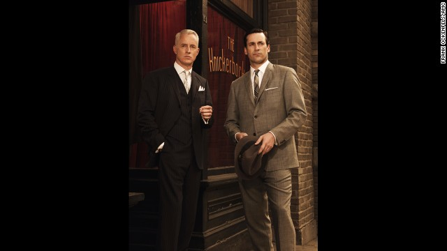 "Roger Sterling and Don Draper pose in season 3 of ""Mad Men,"" set in 1963."
