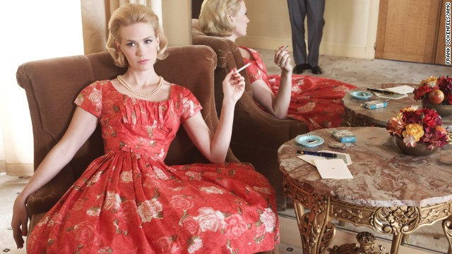 "Betty Draper lounges in season 4 of ""Mad Men,"" set in 1964-1965."