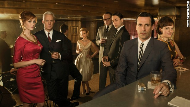 From left to right, Joan Harris, Roger Sterling, Betty Draper, Lane Pryce (Jared Harris), Pete Campbell (Vincent Kartheiser), Don Draper and Peggy Olson strike a pose during season 4.