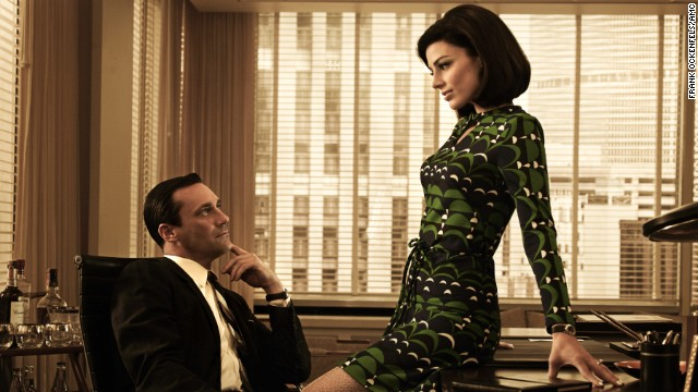 "Don Draper and Megan Draper, played by actress Jessica Pare, perform in season 5 of ""Mad Men,"" set in 1966-1967."