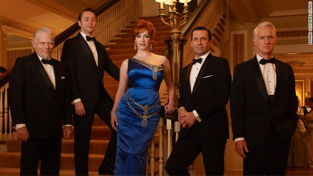 "Bertram Cooper, Pete Campbell, Joan Harris, Don Draper and Roger Sterling pose during season 6 of ""Mad Men."""
