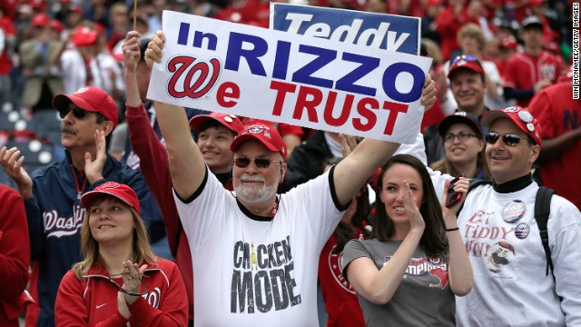 Nationals fans cheer General Manager Mike Rizzo before the game against the Marlins. Rizzo accepted the award for MLB Executive of the Year.