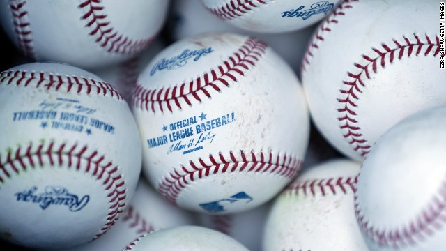 A bag of balls sits on the field during batting practice for the Oakland Athletics game on April 1.