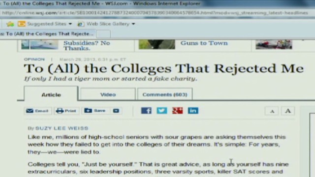 College rejection op-ed in WSJ goes viral: Fair criticism or sour grapes?