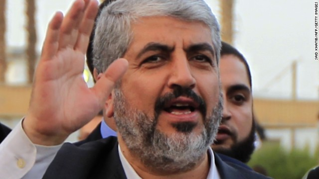 Hamas leader Khaled Meshaal departs from the Gaza Strip on December 10, 2012 in Rafah.