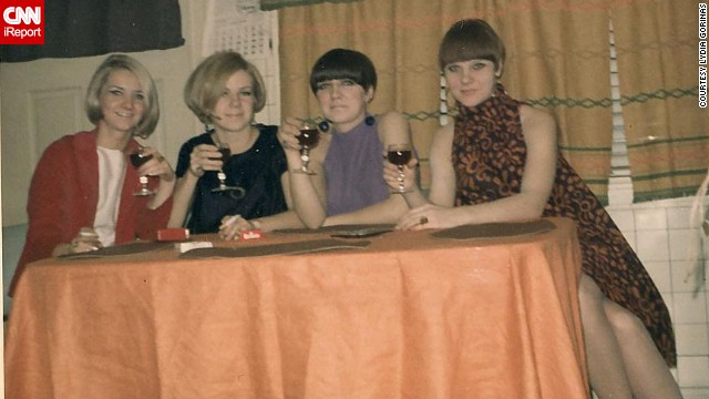 "Lydia Gorinas, far right, her twin sister and her friends enjoy a Christmas Eve together in Chicago in 1967. ""I loved the '60s very much,"" Gorinas says. ""It was when 'mod' was a noun ... not an adjective as it is now."""