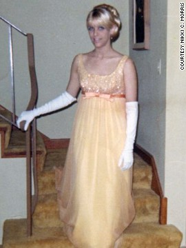 "<a href='http://ireport.cnn.com/docs/DOC-947808'>Nikki C. Morris</a> wore a yellow dress and white gloves for her prom in 1967, but she says '60s fashion was too colorful for her taste. ""I remember thinking that most of the dresses and the girls wearing them looked like Easter eggs,"" Morris says. ""I wasn't a fan."""