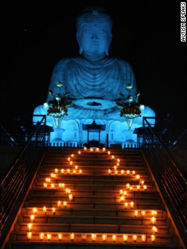 The Hyogo Daibutsu in Kobe, Japan, lights up blue for the 2012 World Autism Awareness Day.