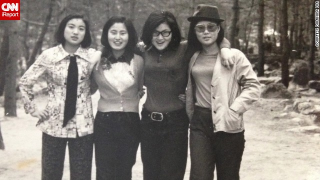 "Dominica Lim's mom, far left, wears a tie and bell-bottom pants as she poses for a picture with her friends in South Korea in 1969. ""I think the fashion of the 1960s was very classy with a touch of fun,"" Lim says."