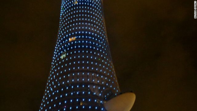 The Torch Doha Hotel in Doha, Qatar, lights up blue for the 2012 World Autism Awareness Day.