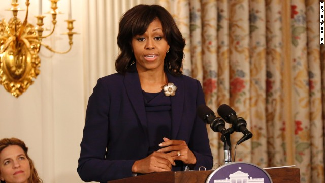 Michelle Obama talks about Cleveland, Christie's surgery