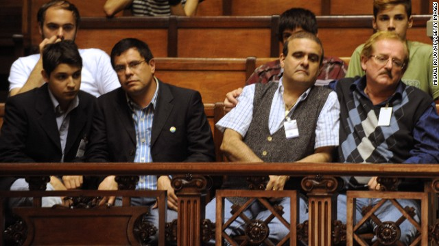 Gay couples observe the Senate's discussion of a bill on same-sex marriage in Montevideo, Uruguay, on Tuesday.