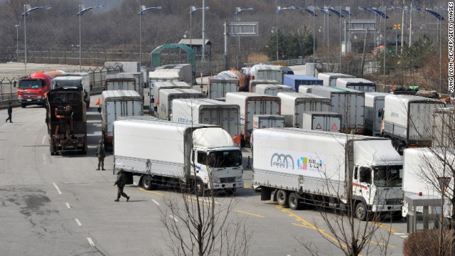 South Korean trucks turn back after they were banned from entering Kaesong in April.