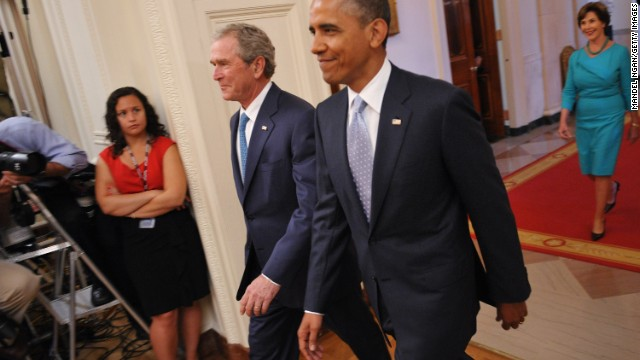 Ahead of library opening, Obama says Bush 'loves this country'