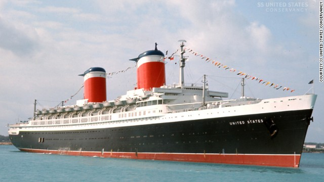 In the 1950s and '60s, the ocean liner SS United States was the choice of movie stars, famous musicians and kings. Supporters are trying to save this storied ocean liner from the scrap heap. It's seen here in the U.S. Virgin Islands during its heyday.