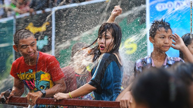 "The Burmese make a big deal of the New Year. Thingyan (known as the ""water throwing festival"") takes place this year from April 13-16. During the festival everyone throws water at each other. Staying dry isn't an option. Water symbolizes the washing away of the previous year's bad luck and sins."