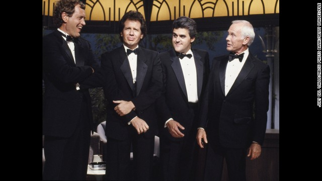 "Funnymen David Letterman, from left, Garry Shandling, Leno and Johnny Carson appear together for the 26th anniversary of Carson's ""The Tonight Show."" Many had expected Letterman would take over the show when Carson retired four years later."