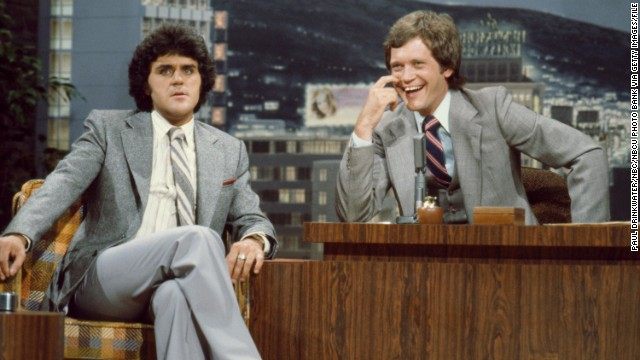 "The future late-night rivals appear on ""The Tonight Show"" in 1979 when Letterman was the guest host for Carson."