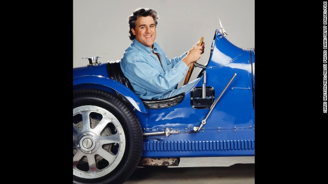 "Leno, known for his love of cars, promotes his fifth season as ""The Tonight Show"" host with this unique set of wheels. He landed the talk-show gig when Johnny Carson retired in 1992."