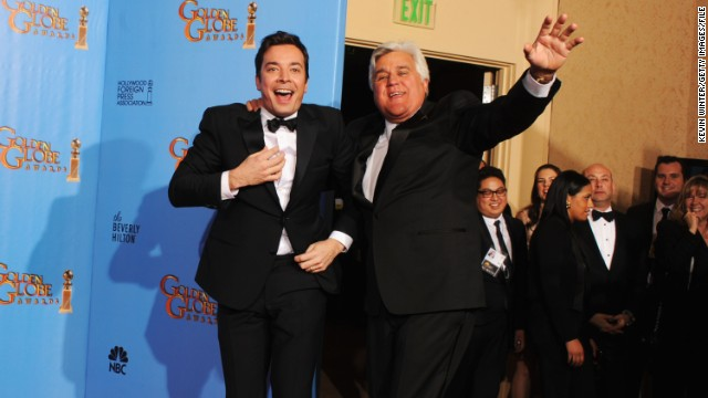 "Leno is all smiles with Fallon, a fellow presenter at the 2013 Golden Globes, in January. In his opening monologue Wednesday night, April 3, Leno congratulated Fallon on his new job as ""The Tonight Show"" host."